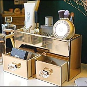 Other - Rose Gold Mirror Makeup Jewelry Organizer